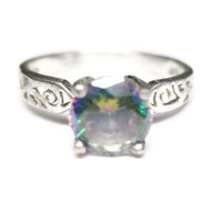 Sterling Mystic Topaz Solitaire Engagement Ring Size 7