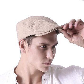 Men Cotton Solid Color Beret Cap Adjustable Buckle Paper Boy Cabbie Golf Gentleman Hat