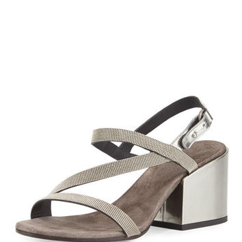 Brunello Cucinelli Asymmetric Monili 60mm Sandal, Silver