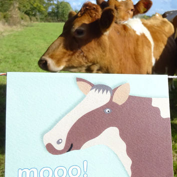 Cow card, this wonderful hand-illustrated farm animal notecard is full of expression, blank inside for your own personal message