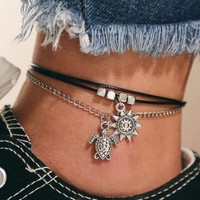 Tortoise Charm Layered Anklet