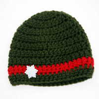 Green Christmas baby hat crochet holiday button accent newborn photo prop 0 - 3 months