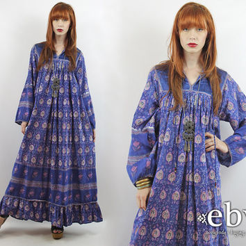 Vintage 70s Indian Cotton Maxi Dress S M L Hippie Dress India Dress Indian Dress Hippy Dress Boho Dress Festival Dress Indian Cotton Dress