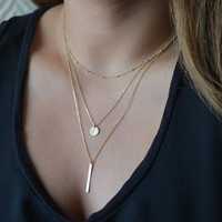 Gold Double Pendant Necklace