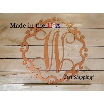 "20"" Circle Door Hanger with Vine Initial"