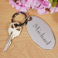 Name/Initial Silver keychain