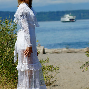 1970's Bohemian Hand Crocheted White Wedding Dress Bohemian Peasant