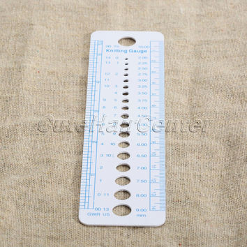 New 1pc Plastic Knitting Needle Gauge Inch Cm Ruler Tool (US UK Canada Sizes) 16 X 4 Cm Costura Sewing Accessories Tools