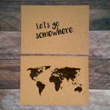 ANNIVERSARY SALE - Let's go somewhere - 2 14x10 Cork Boards - Medium Cork Push Pin Travel Map SET - R E A D Y   T O  S H I P