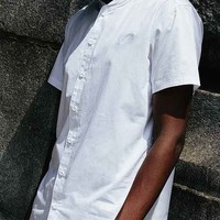 Publish Olympos Knit-Collar Button-Down Shirt- White