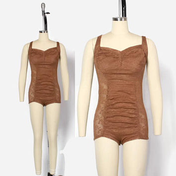 Vintage 40s Anchor Patterned Lace SWIMSUIT / 1940s Cocoa Brown Patterned Novelty Lace Semi Sheer Ruched Bathingsuit