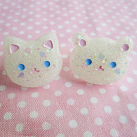 Glow in the Dark Glittery White Kitty Cat or Bear Resin Ring (PICK 1) Kawaii Lolita Fairy Kei