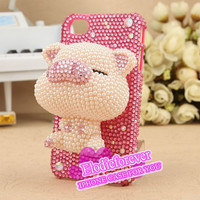 ON SALE Bling Bling 3D Cute Little Pink Pig iPhone 4 Case Lovely Piggie iPhone 4S Case Rhinestone Swarovski Cartoon Pig iPhone 5 Case A36