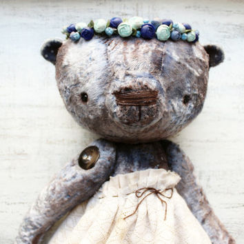 15' teddy bear OOAK artist bear girl with floral crown lilac plush brown off white vintage distressed