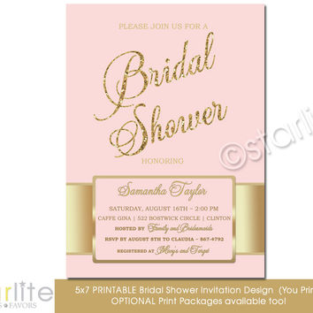 Pink Gold Bridal Shower invitation - blush pink, gold glitter shower invitation 5x7 size - Printable Invitation Design - You Print