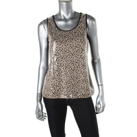 NY Collection Womens Animal Print Sleeveless Tank Top