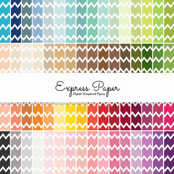 SALE 64 Colored Back Chevron digital papers- 12x12 and 8.5x11 included- Digital Paper Rainbow includes dark, bright, neutral and pastel