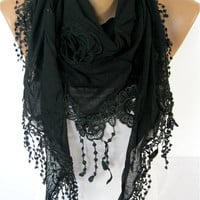 NEW--Black scarf - Fashion scarf - scarves -Triangular Shawl-Christmas gift