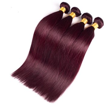 Burgundy 99J  Straight Peruvian Human Hair Extensions Weave Bundles