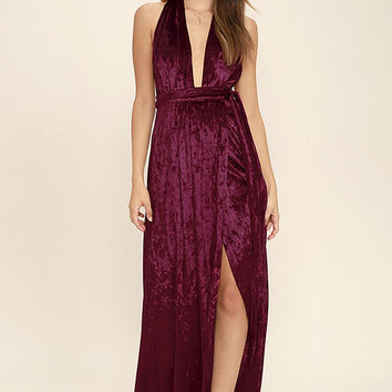 Aphrodite's Kiss Burgundy Halter Maxi Dress