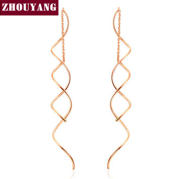 Simple Spiral Ear Line White & Rose Gold Plated Fashion Earrings Jewelry
