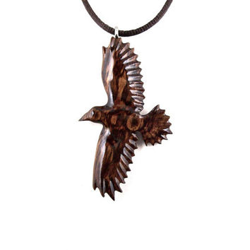 Raven Necklace, Crow Pendant, Raven Pendant, Crow Necklace, Wooden Raven Pendant, Raven Totem Animal Jewelry, Raven Jewelry, Crow Jewelry