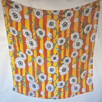 """Vintage Table Cloth, 48"""" Square Table Cloth,Vintage Table LInens,Retro Table Decor,Oversized Flower Tablecloth,Orange & Yellow Tablecloth"""