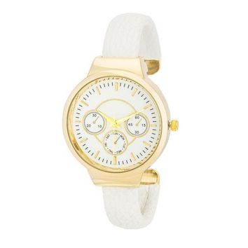 Reyna Gold Leather Cuff Watch - White and 3 more colors