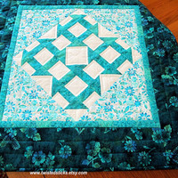 Stunning Churn Dash Quilted Table Topper, Quilted Wall Hanging, Teals and white
