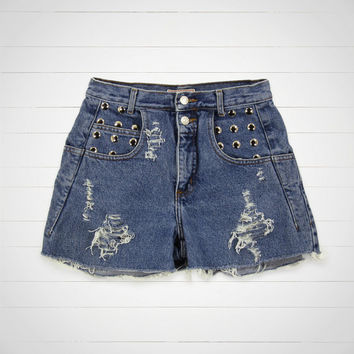 Studded Shorts / High Waisted Denim Shorts Cut Offs / 27 Waist / Hipster Urban Outfitters Style