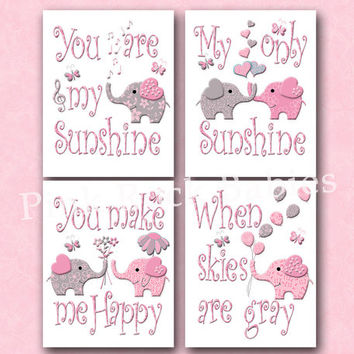 Elephant nursery wall decor You are my sunshine artwork baby girl room decoration kids words poster children art toddler gift pink grey