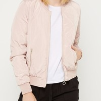 Pink Quilted Bomber Jacket