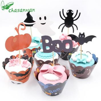 NEW 24 Pcs Cute Halloween Pumpkin/Bat/spider Cupcake Cake Wrappers Toppers Halloween Adult Birthday Party Decorative Supplies.Q