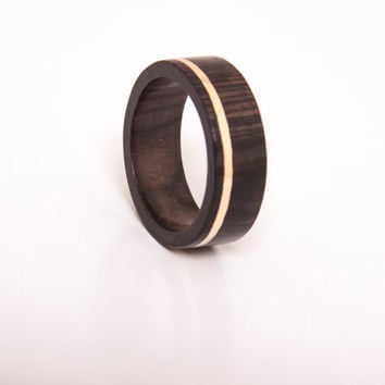 wood ring with gold inlay ebony ring yellow gold stripe