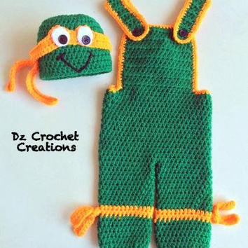 Crochet Ninja Turtle - Photo Prop - Baby Set - Ninja Turtle Baby Set - Diaper Cover Set - Crochet ninja turtle - Crochet - Halloween Costume