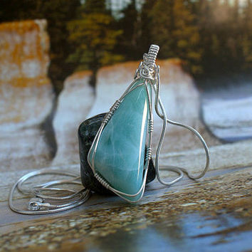 Larimar pendant large size gemstone silver wire wrapped with .925 silver necklace