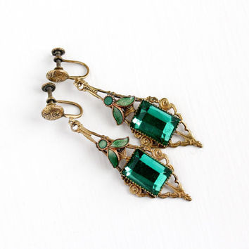 Vintage Art Deco Brass Green Glass Stone & Enamel Screw Back Earrings - 1920s Dangle Drop Clip On Simulated Emerald Filigree Wedding Jewelry
