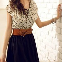 LOVELY POLKA DOT TIE BACK DAY DRESS WITH BELT