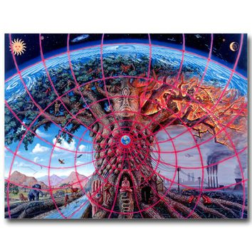NICOLESHENTING GAIA - Alex Grey Psychedelic Abstract Art Silk Fabric Poster Huge Print Trippy Picture Home Wall Decor 022