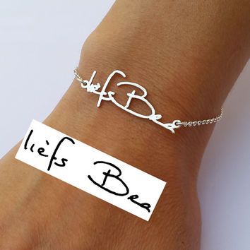 Actual Handwriting Bracelet - Personalized Signature Bracelet - Memorial Jewelry - Sterling Silver
