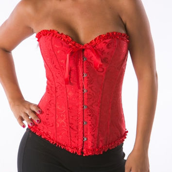 Red Floral Boned Strapless corset tops