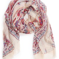 Junior Women's BP. Medallion Print Scarf - Red