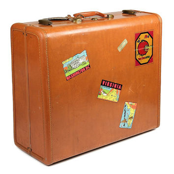 Samsonite Suitcase with Vintage Travel Stickers / Mid Century Luggage for Him / Brown Luggage / Stackable Luggage Home Decor