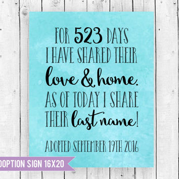 Adoption Day Sign, Adoption Sign, Adoption Ideas, Adoption Sign, Days in foster care sign, Adoption Print, Adoption Day,