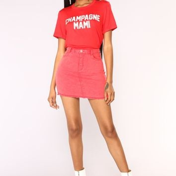 Champagne Mami Top - Red