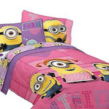 Universal's Minion Girls Way 2 Cute Microfiber Twin Comforter or sheet set.