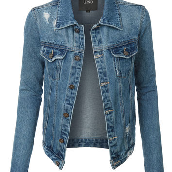 LE3NO Womens Vintage Long Sleeve Distressed Ripped Denim Jacket with Pockets