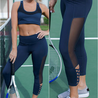 Get Moving Navy Mesh Paneled Criss Cross Capri Yoga Pants