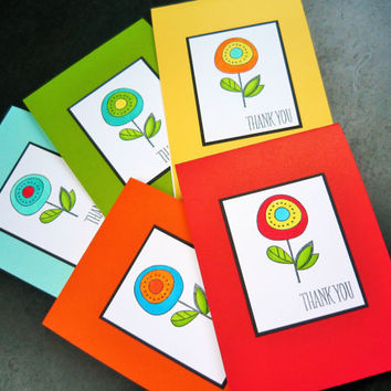 Modern Floral Thank You Note Cards Set of 5, Rainbow Colors