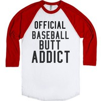 Baseball Butt-Unisex White/Red T-Shirt